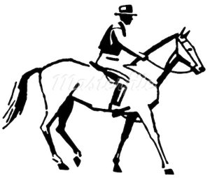 608-03470985 © Masterfile Royalty-Free Model Release: No Property Release: No A black and white version of a vintage style line drawing of a cowboy